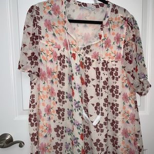 Lucky Brand Floral Blouse with tassels